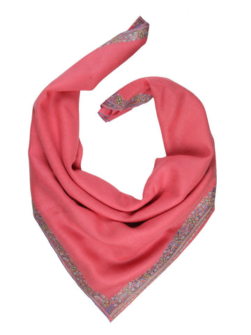 Peach Pink Pure Pashmina Stole with Blue Hand Embroidered Border