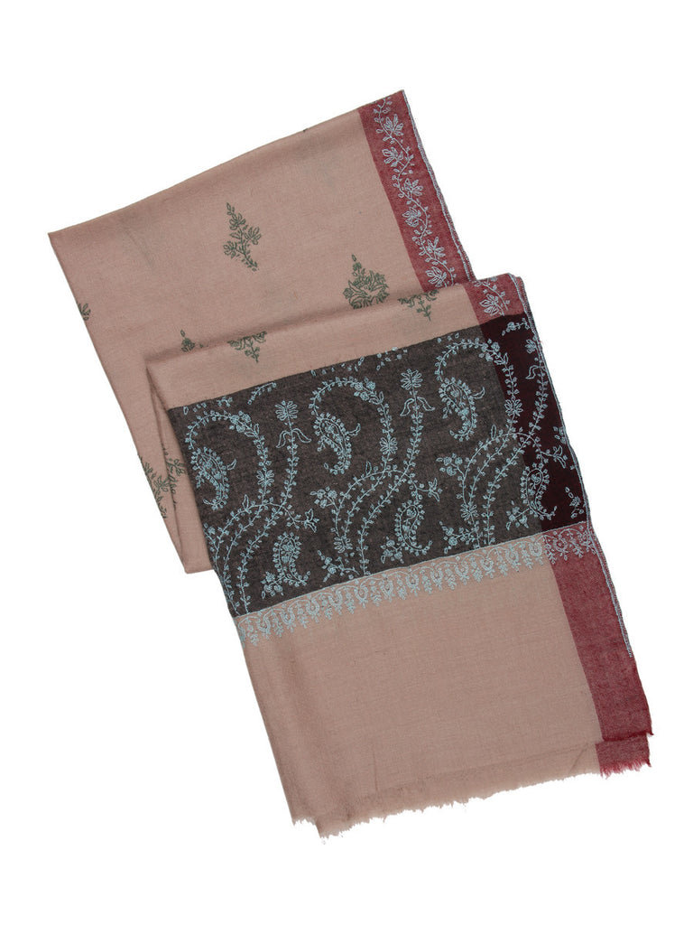 Deep Beige Pashmina Stole with Black Embroidered Palla & Green Booti
