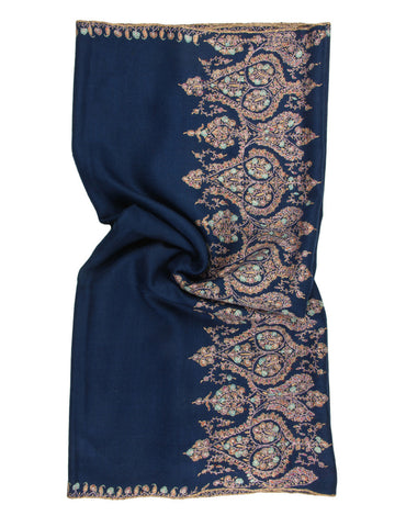 Deep Blue Pure Pashmina Stole with Hand Embroidered Palla