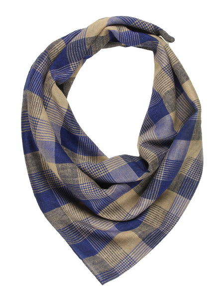 Blue & Pale Yellow Checks Pure Pashmina Stole