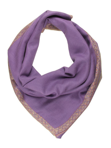 Mauve Pure Pashmina Stole with Blue & Pink Hand Embroidery Border