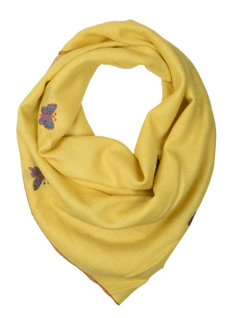 Yellow Pure Pashmina Stole with Butterfly Booti