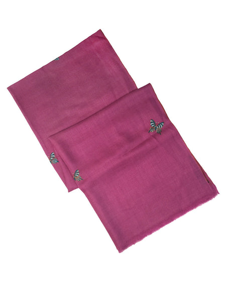Pink Pure Pashmina Stole with Butterfly Booti