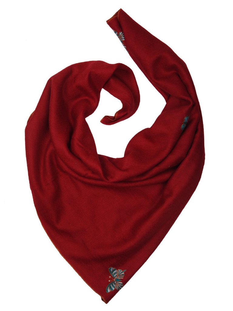 Reddish-Maroon Pure Pashmina Stole with Butterfly Booti
