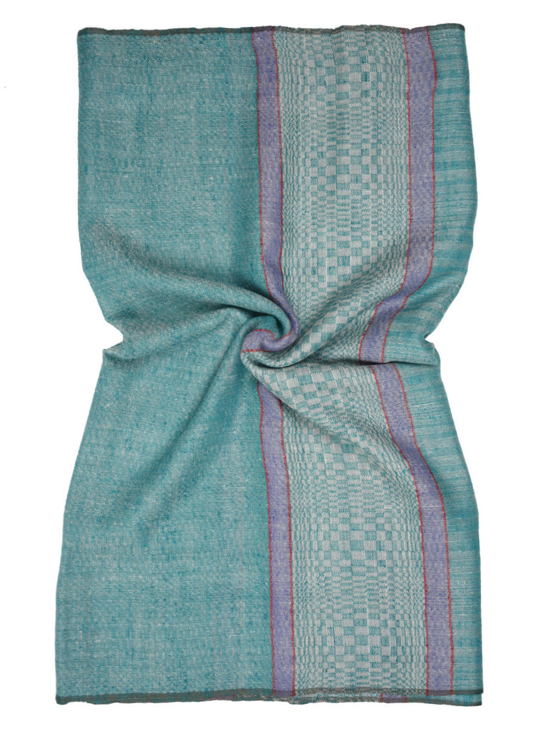 Turk Blue Pure Pashmina Stole with Checks Palla