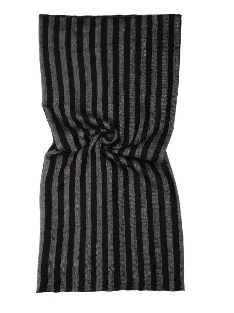 Black & Grey Narrow Stripes Pure Pashmina Stole with Black Palla