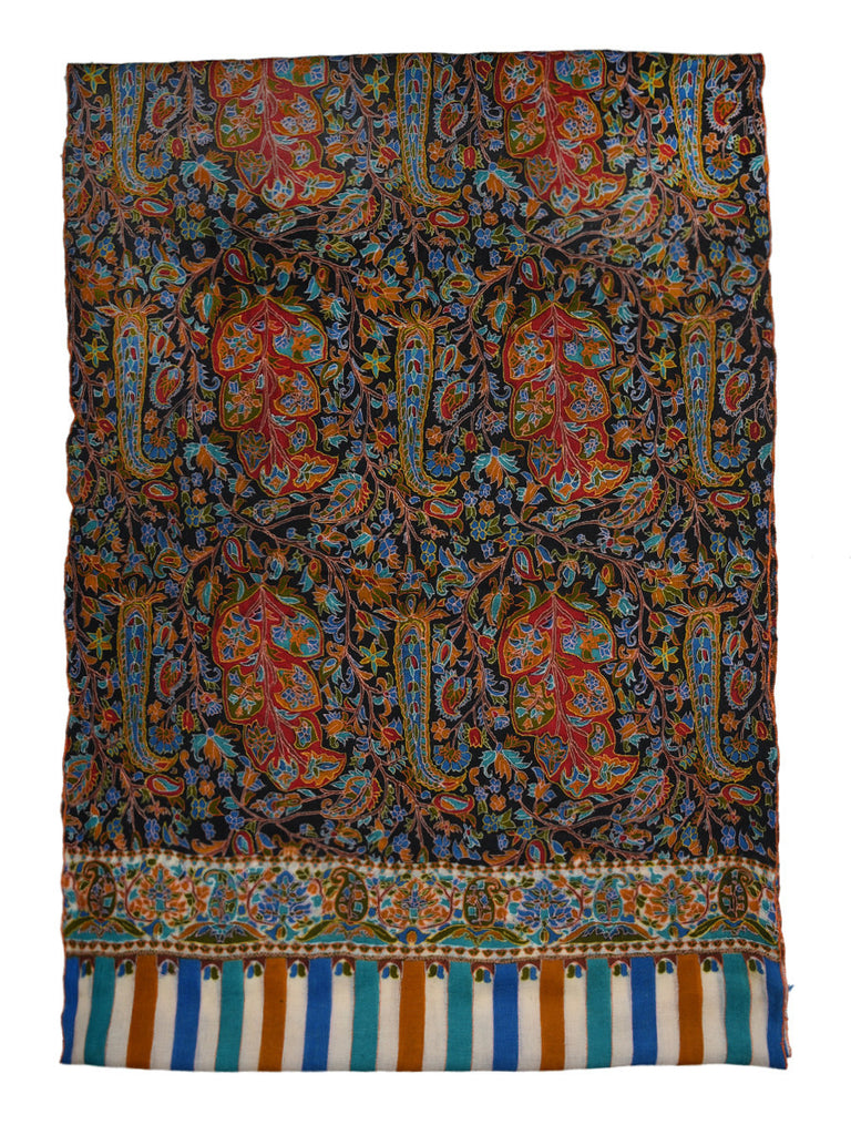 Black Pure Pashmina Stole with Jama Kalamkari