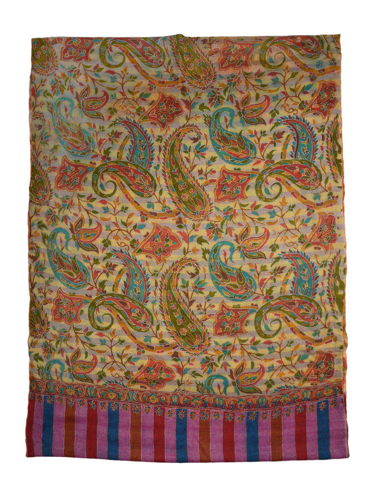 Banana yellow Pure Pashmina Stole with Jama Kalamkari work
