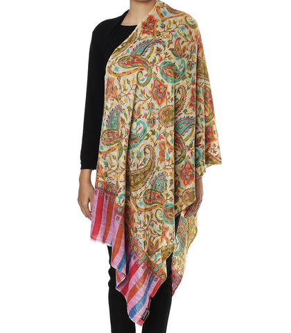 Yellow Pure Pashmina Stole with Jama Kalamkari work