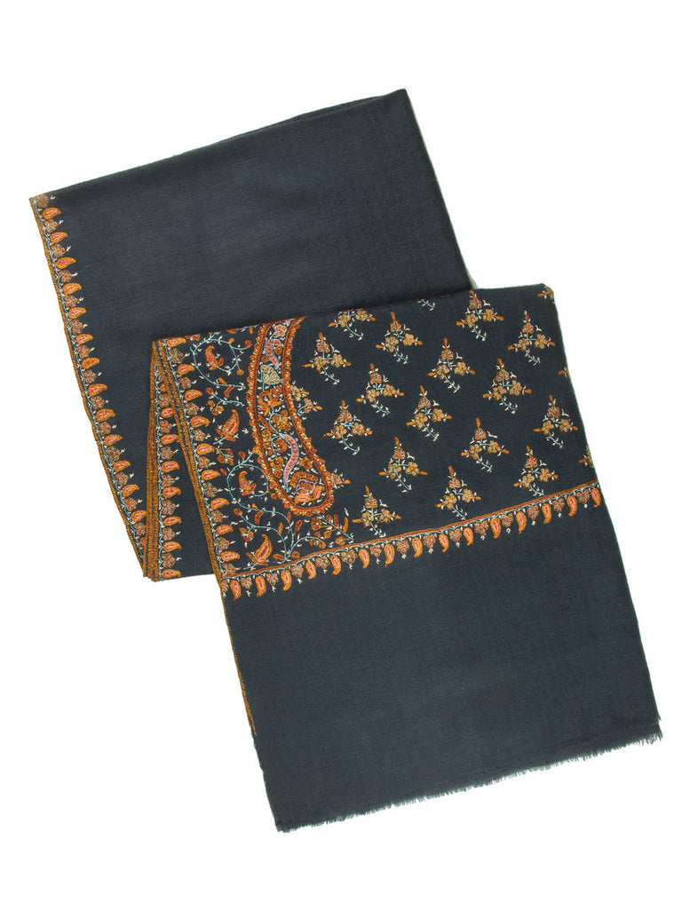 Deep Grey Pure Pashmina Stole with Hand Embroidered Palla & Border