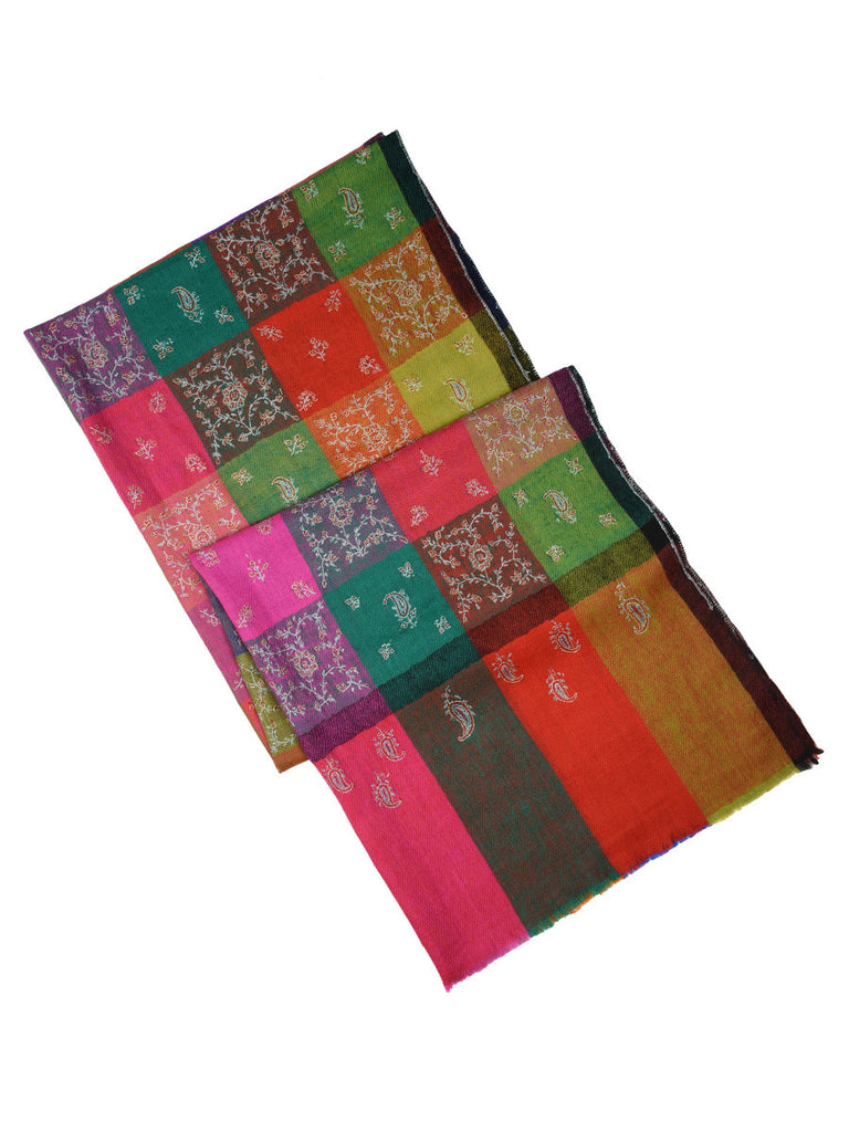 MultiColor Checks Pure Pashmina Stole with all over Hand Embroidery