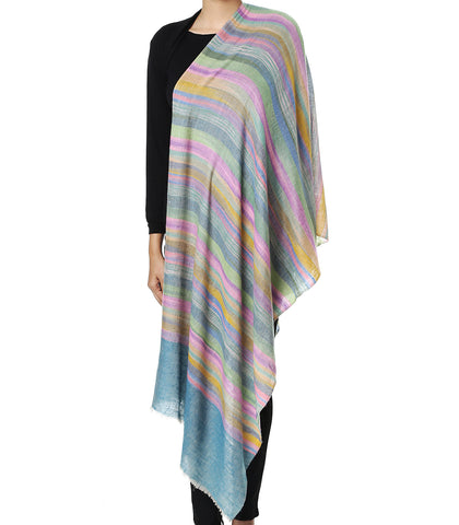 Multicolor stripes with turquoise blue Tana Bana palla