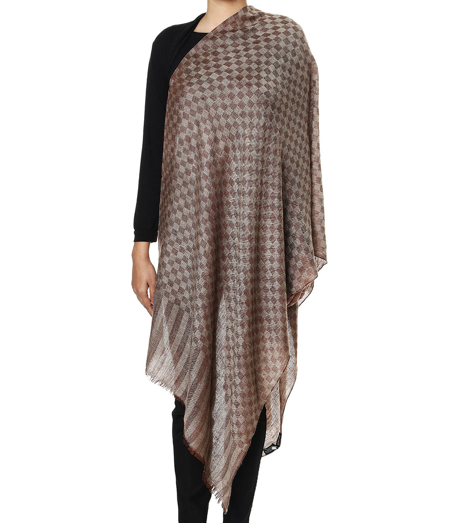 Brown chess-board checks pashmina stole