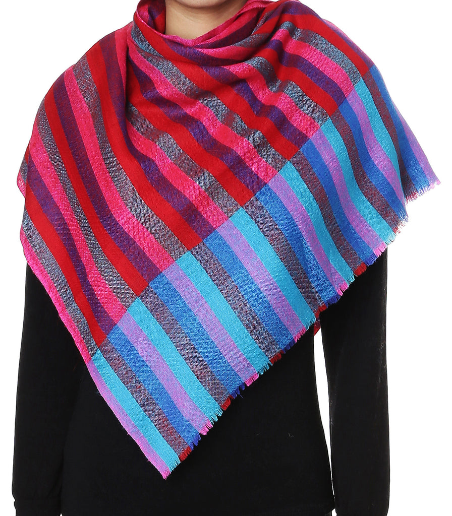Bright multicolor stripes pashmina stole