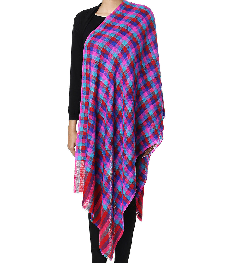 Bright multicolor checks pashmina stole