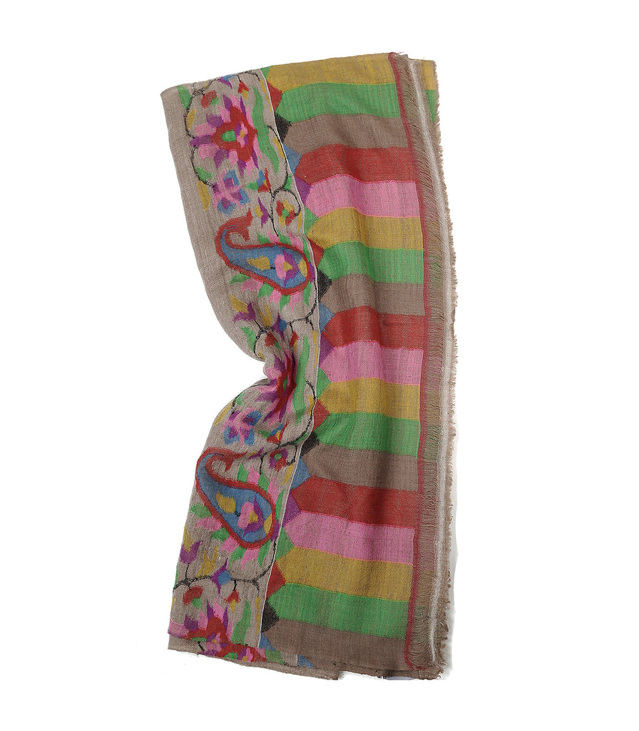 Natural color pashmina stole with Kani print on palla