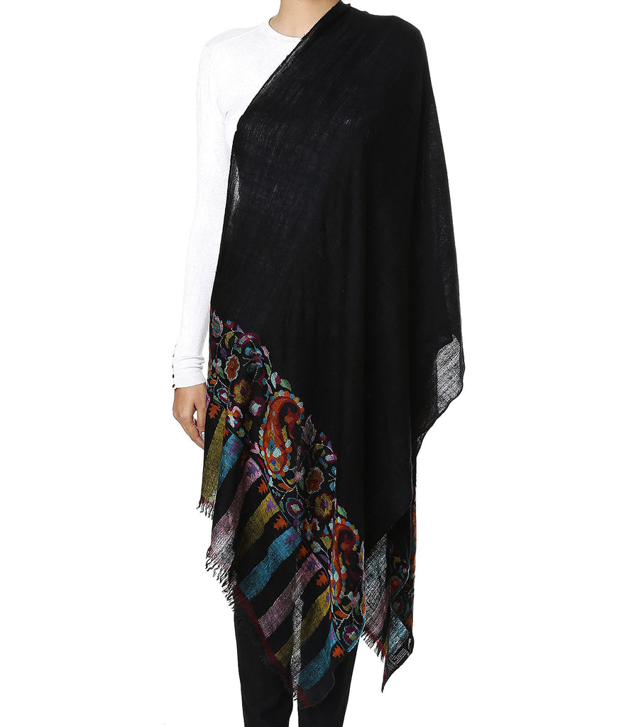 Black pashmina stole with Kani work on palla