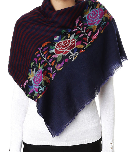 Deep blue pashmina stole with all over maroon stripes and Kani print on palla