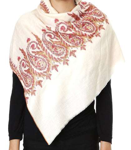 Off-White Pashmina Stole with Paisley Embroidered Motifs on palla