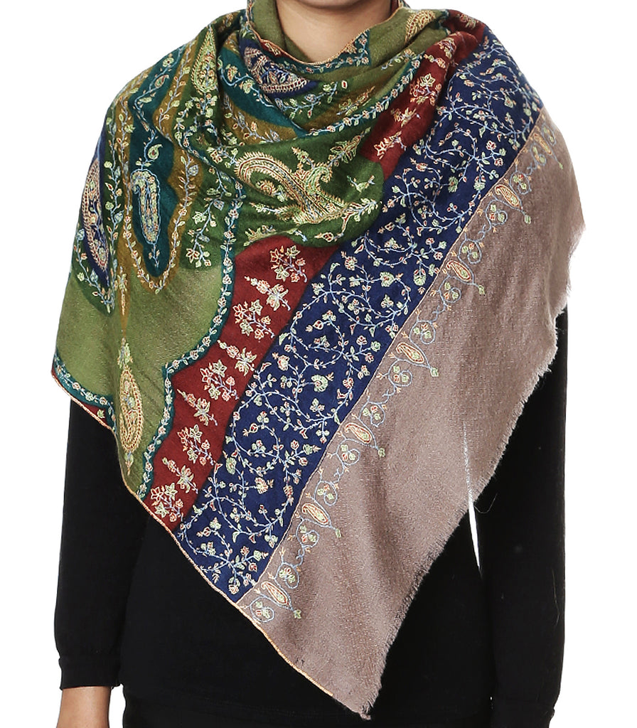 Olive Green pashmina stole with all over paisley Kalamkari work