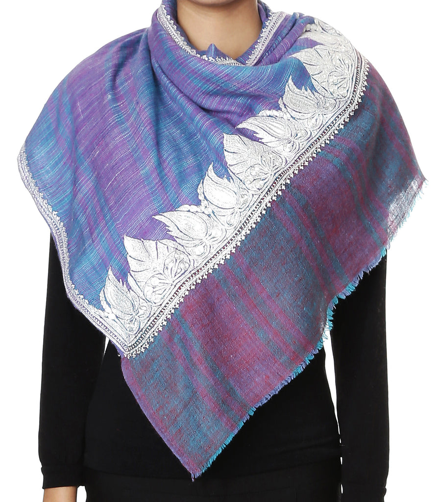 Blue & pink shaded pashmina stole with paisley pure Zari hand work on palla