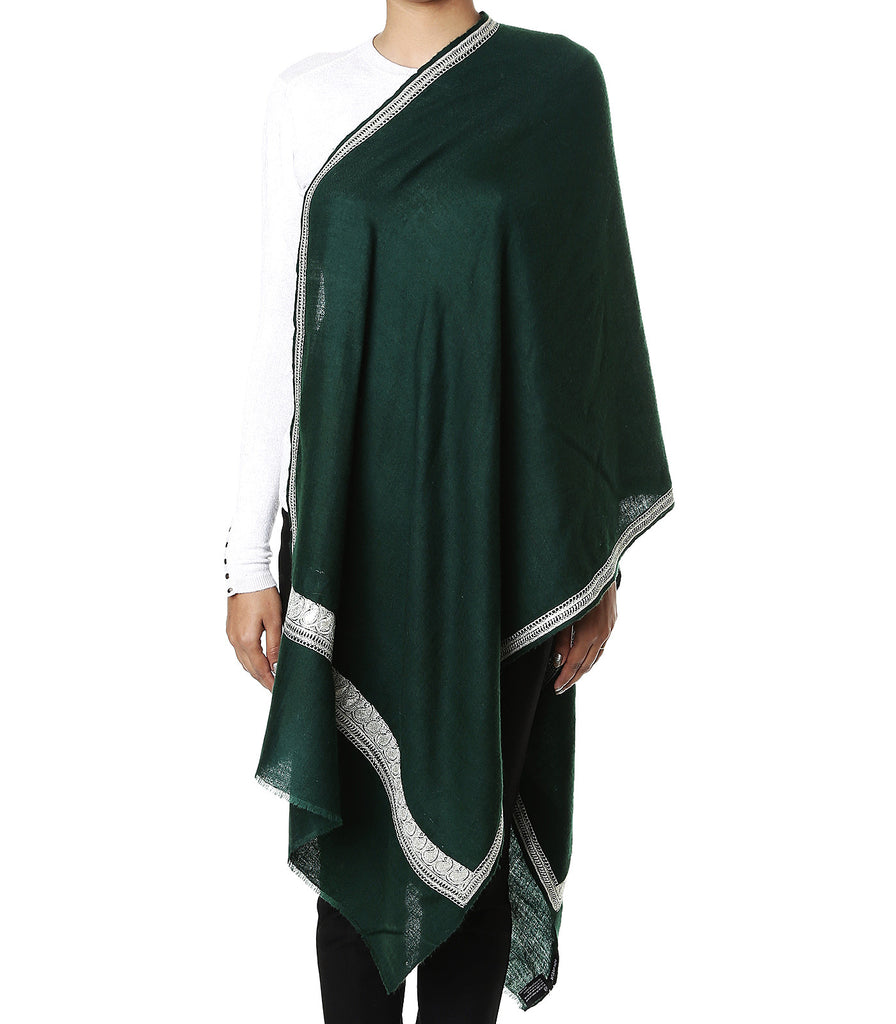 Deep green pashmina stole with pure zari hand work on border and palla
