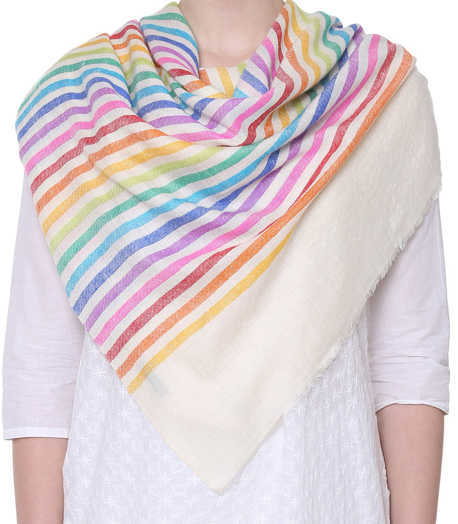 Off-White pashmina with rainbow stripes