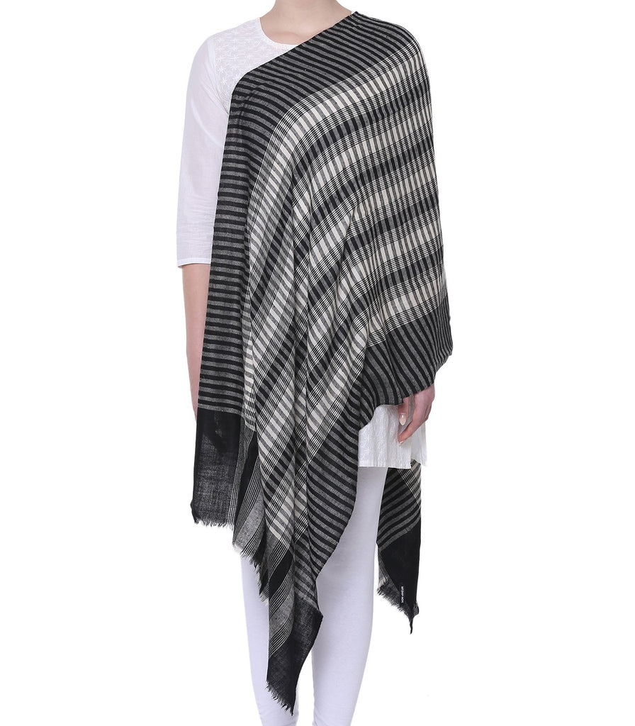 Black & White stripes pashmina stole