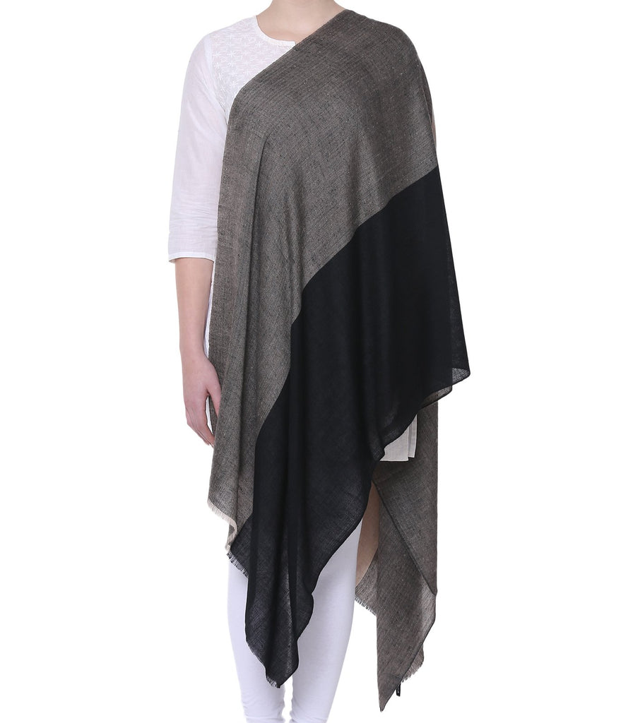 Dual Shade Black & Grey Pashmina