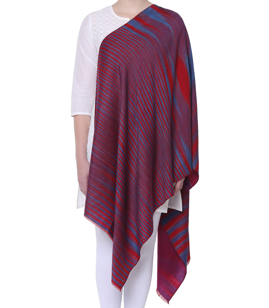 Dual Shade Red & Blue Stripes Reversible Pashmina