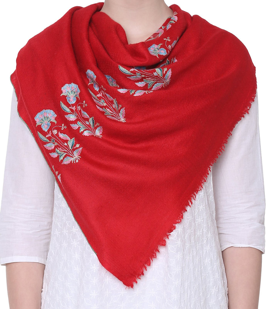 Red Bootidaar Pashmina with Papier Mache embroidery on Palla