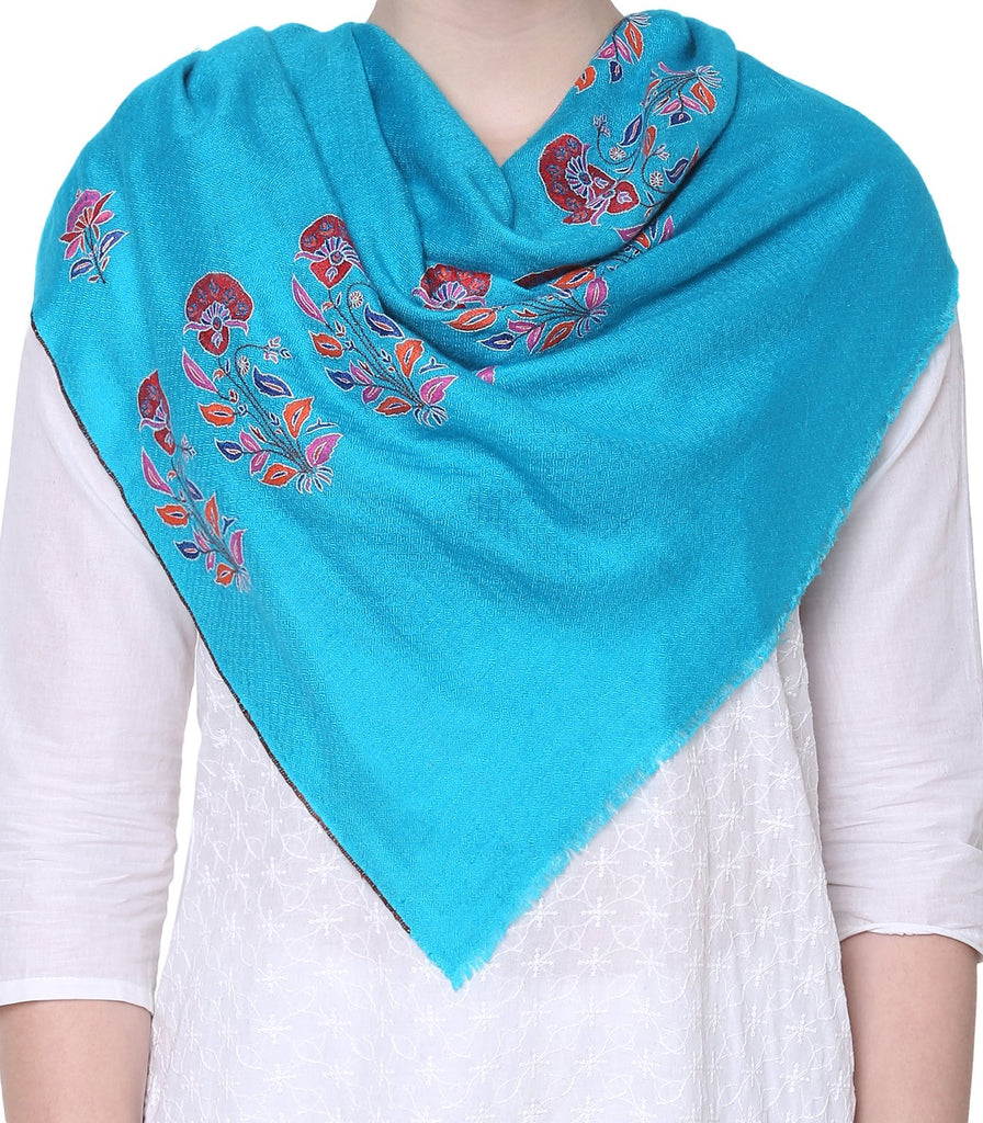 Deep Sky Blue Bootidaar Pashmina with Papier Mache Embroidery on Palla