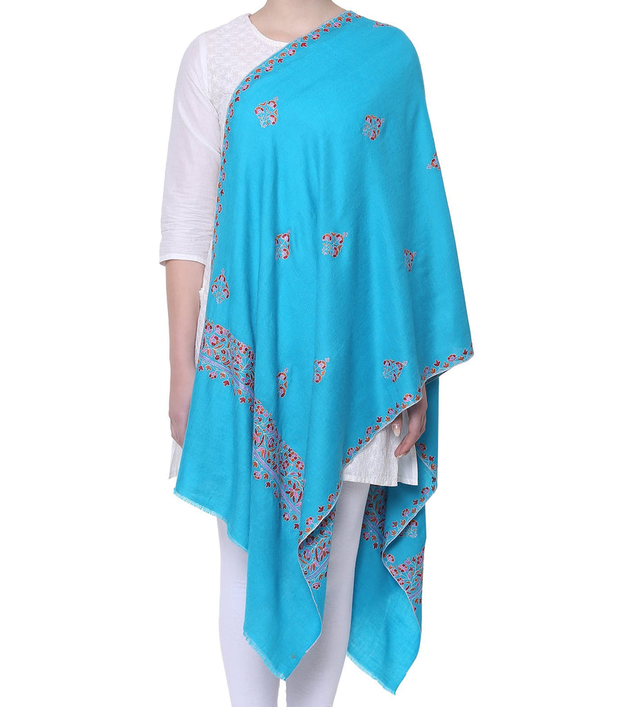 Sky Blue Bootidaar pashmina with Papier Mache work on Border & Palla