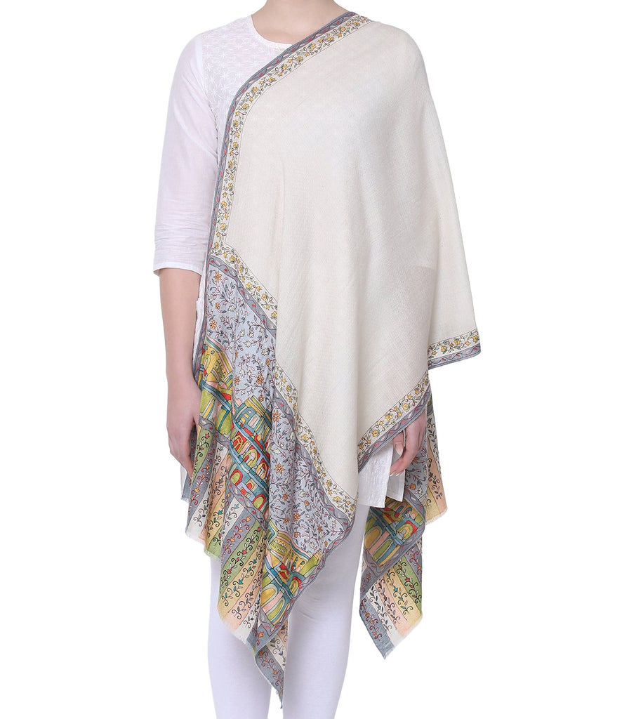 Beigish White Pashmina with Fine Kalamkari on Palla & Border