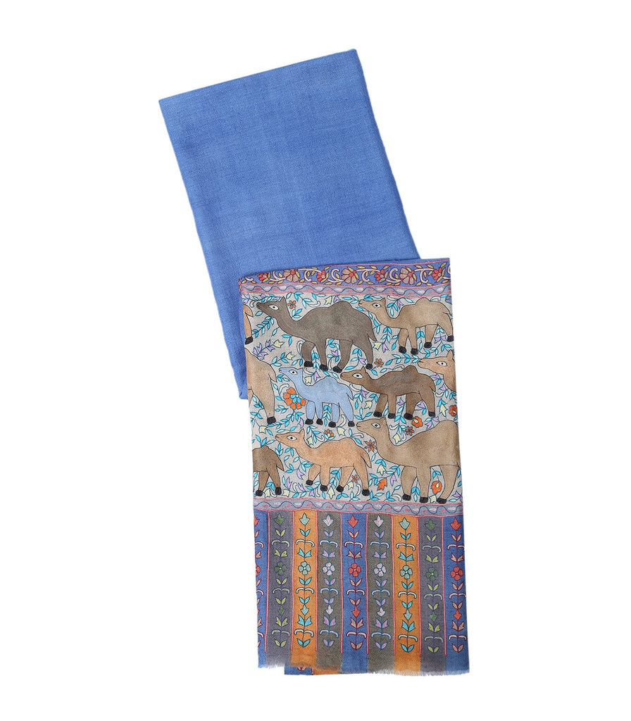 French Blue Pashmina with Camel Figures in Fine Kalamkari