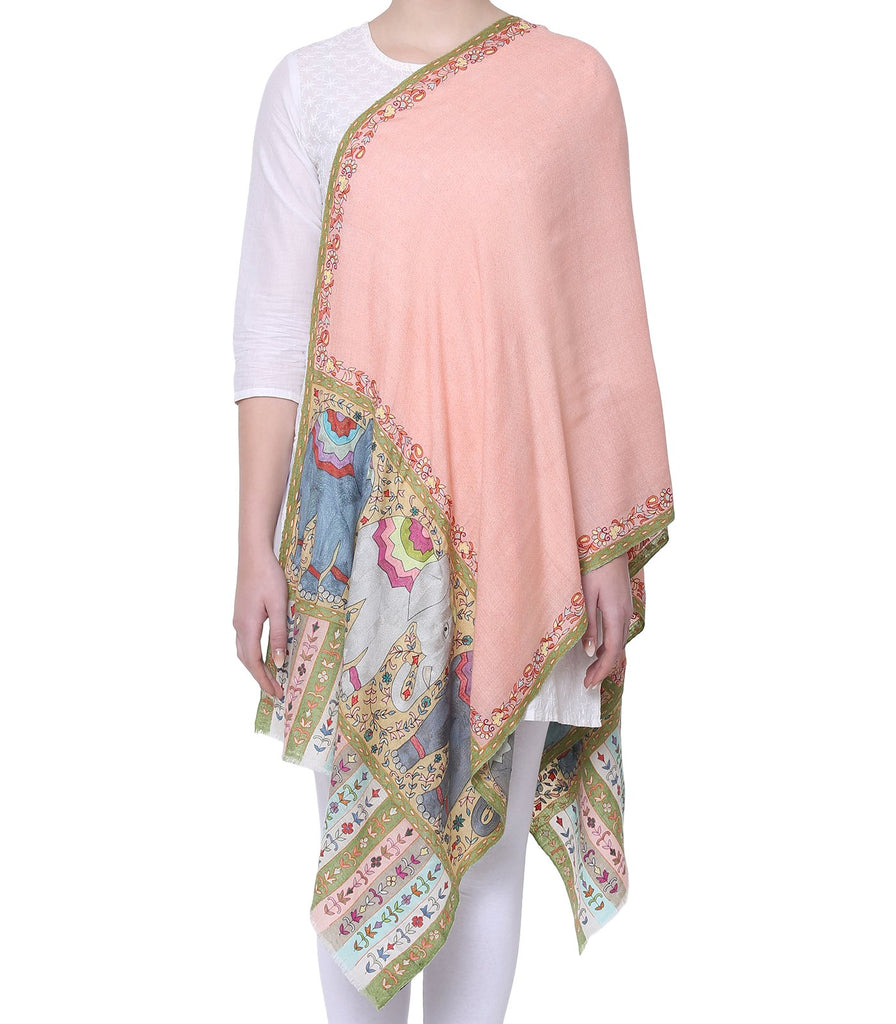 Salmon Pink Pashmina with Elephant Figures in Fine Kalamkari