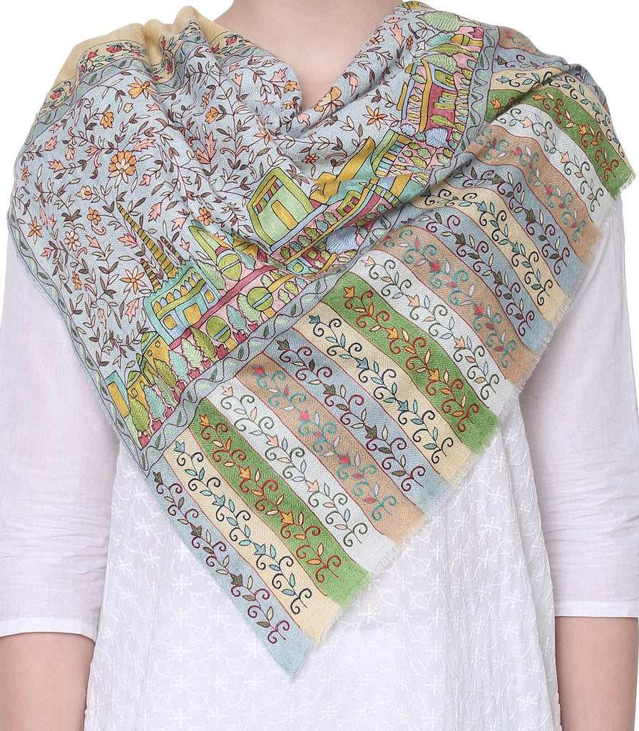 Daffodil Yellow Pashmina with Fine Kalamkari on Palla