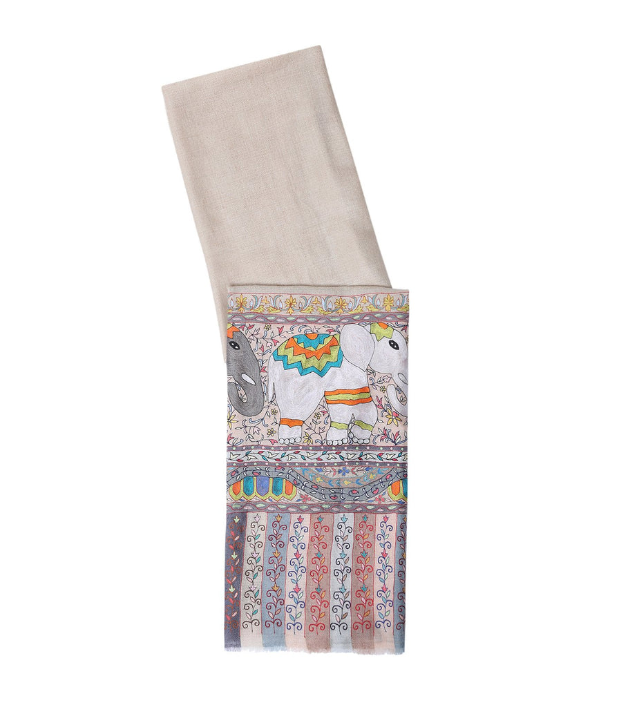 Natural Shade Pashmina with Elephant Figures in real Kalamkari
