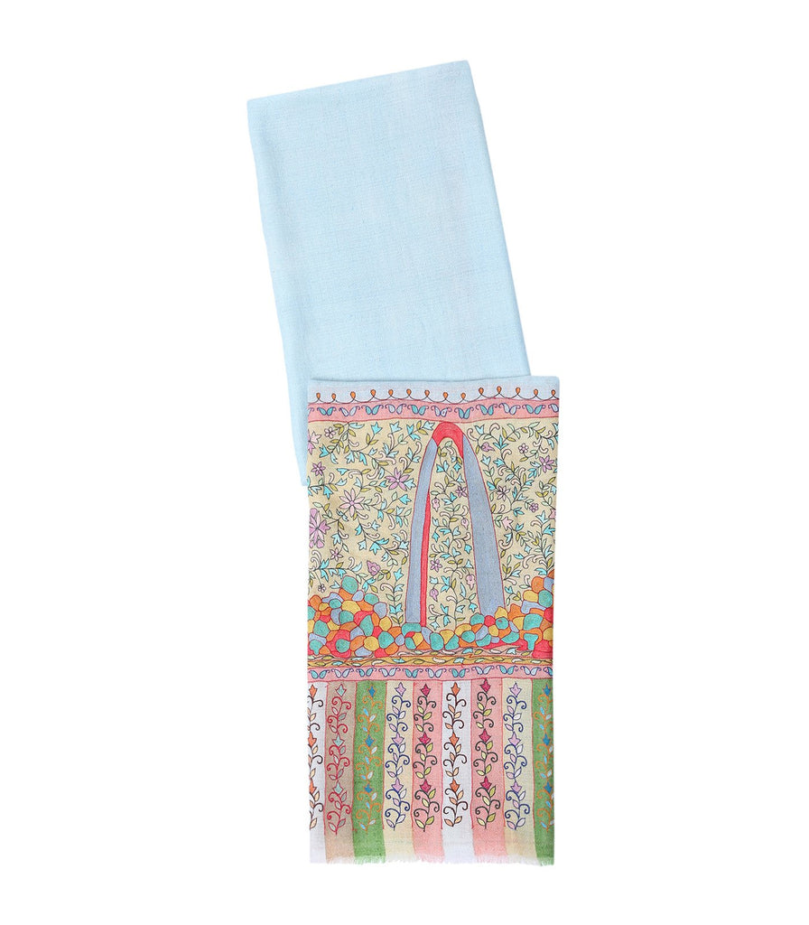 Powder Blue Pashmina with Real Kalamkari