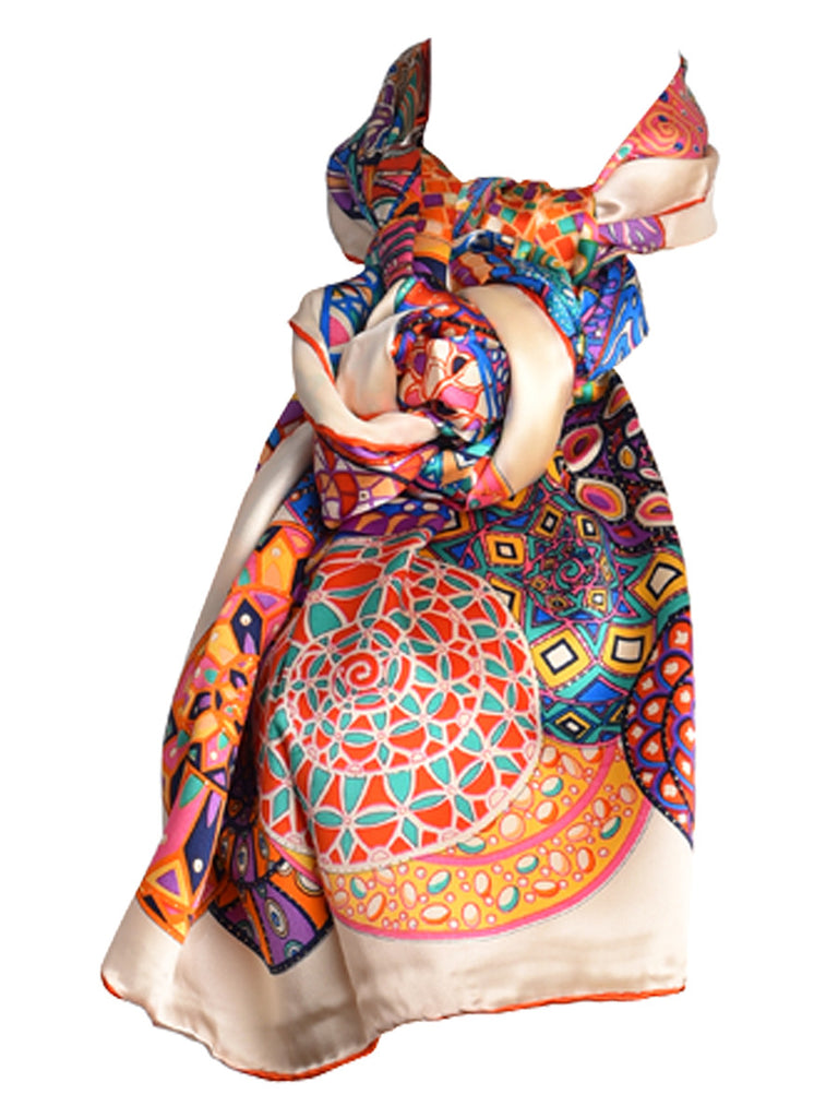 Multicoloured circular print silk scarf