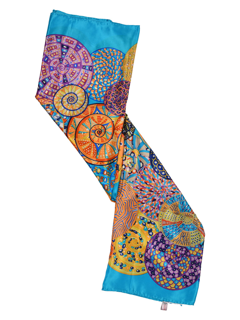 Deep sky blue silk scarf with circular print