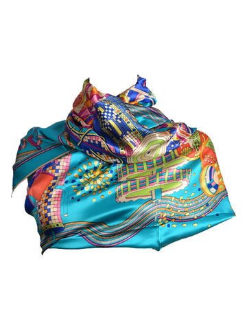Deep blue silk scarf with multicoloured print
