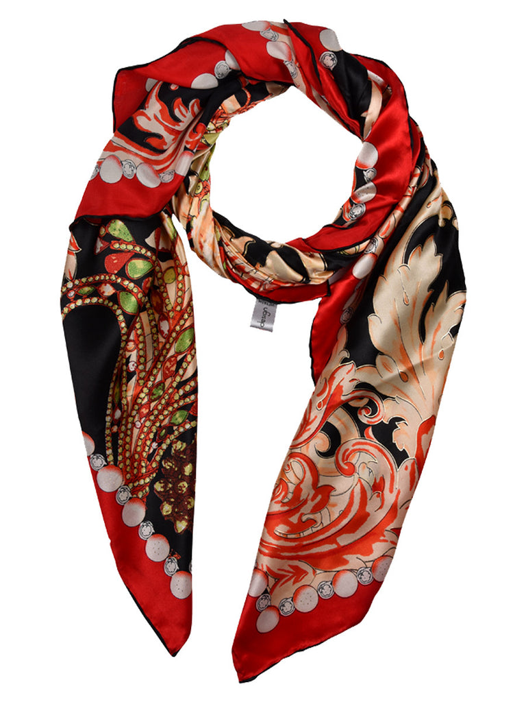Black silk scarf with multicoloured print