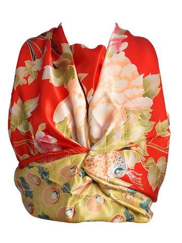 Red silk scarf with peacock print