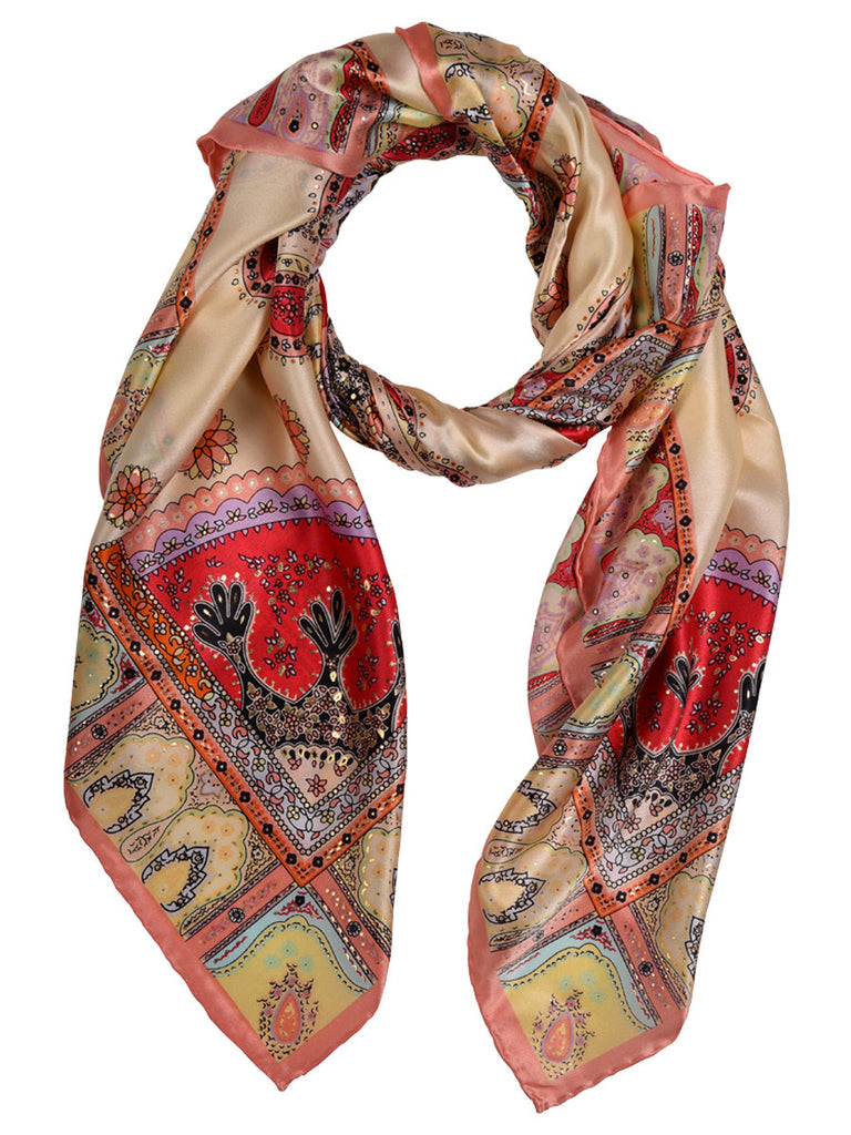 Multicolour silk scarf with nature design print