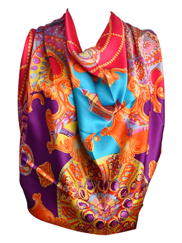 Pink silk scarf with multicolour pattern