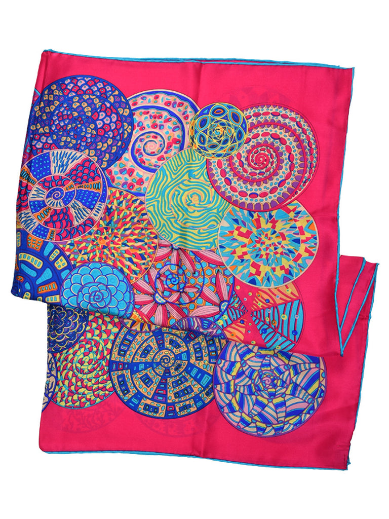 Fuchsia pink silk scarf with circular pattern