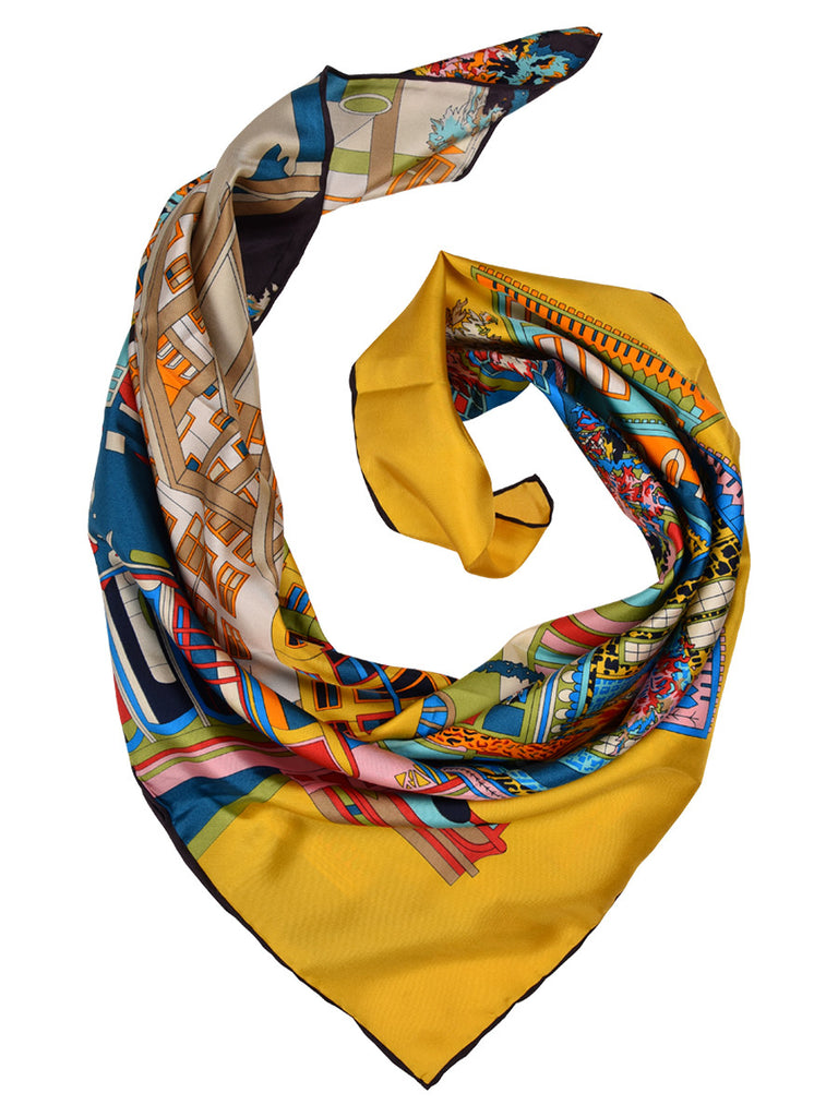 Digital print multicolor silk scarf