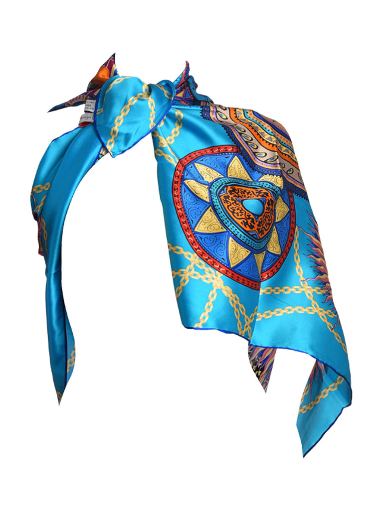 Deep sky blue silk scarf with multicolor circular pattern