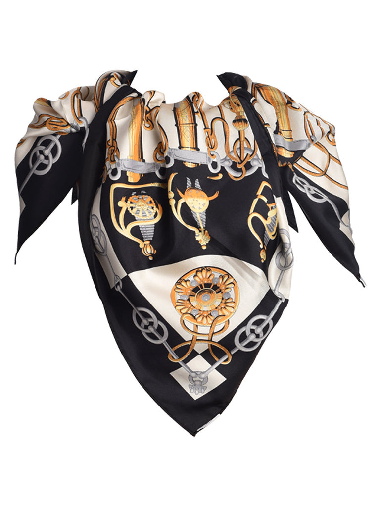 Black pure silk scarf with contemporary design